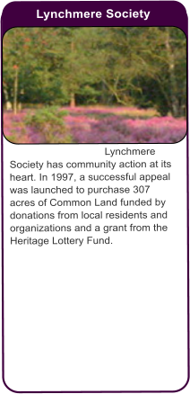 Lynchmere Society  Lynchmere Society has community action at its heart. In 1997, a successful appeal was launched to purchase 307 acres of Common Land funded by donations from local residents and organizations and a grant from the Heritage Lottery Fund.